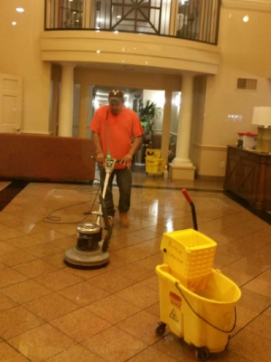 Construction Cleaning Crew tile floor clean buff