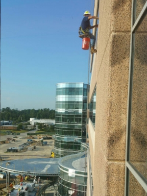 Construction Cleaning Crew window washing building